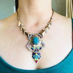 Zara Statement Necklace Tribal Aztec Triangle Teal